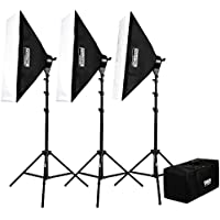 Fovitec  StudioPRO - 3x 24x36 Softbox Lighting Kit w/ 6400 W Total Output - [Pro][Includes Stands, Softboxes, Socket Heads, 15x 85W Bulbs]