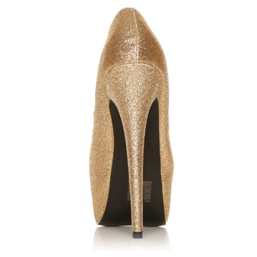 NEW WOMENS PARTY PLATFORM PUMPS KILLER HIGH HEELS STILETTO COURT SHOES SIZE 3-8 Gold Glitter 7cWYFfNQej