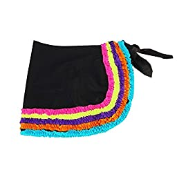 Azul Big Girls Black Multi Color Trim Detail Chasing Rainbows Pareo 6/7