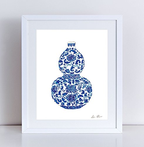 Blue and White China Vase Art 2 Blue and White Chinoiserie Art Chinoiserie Painting Chinese Wall Decor Chinese Art Print Asian Wall Decor (Valentino Vase)