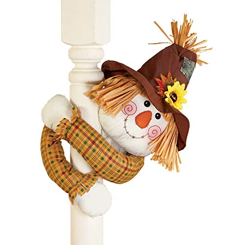 Collections Etc Cute Fall Scarecrow with Straw Hat