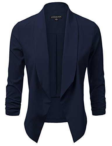JJ Perfection Women's Lightweight Chiffon Ruched Sleeve Open-Front Blazer Navy L
