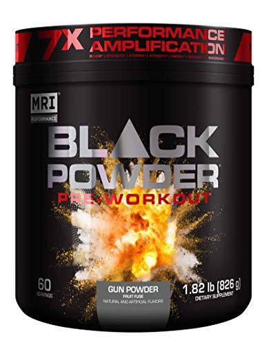 MRI Black Powder Pre-Workout Powder - Explosive Energy & Stamina - Intense Strength and Focus - Build Muscle - Recover Faster - Creatine - 60 Servings (Gun Powder)