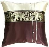 Artiwa Brown & Cream Throw Decorative Silk Pillow Cover 20x20 inch Large Thai Elephants Stripe