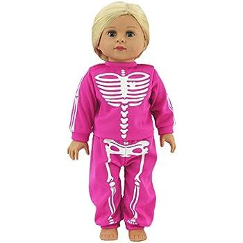"Black Skeleton Pajamas Halloween Costume For 18/"" American Girl Doll Clothes"