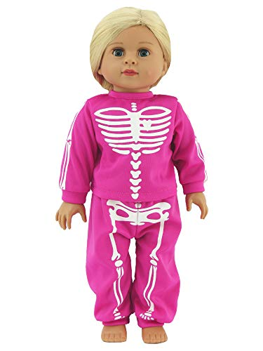 Hot Pink Skeleton Halloween Pajamas | 18 Inch American Girl Doll Clothes -