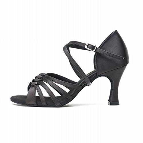 con BYLE di da Onecolor Adulto Danza Scarpe Caviglia Donna da Moderno Ballo in Nero Ballo Scarpe Scarpe Latino Cuoio Cinturino Raso Samba Jazz alla Sandali q4SAqnWU