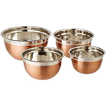 ExcelSteel Copper Tone Stainless Steel Mixing Bowls (Set of 4)