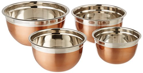 ExcelSteel Copper Tone Stainless Steel Mixing Bowls (Set of 4) - Copper Stainless Steel Mixing Bowl