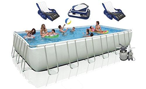 Intex 18' x 9' x 52' Ultra Frame Rectangular Swimming Pool Deluxe Set