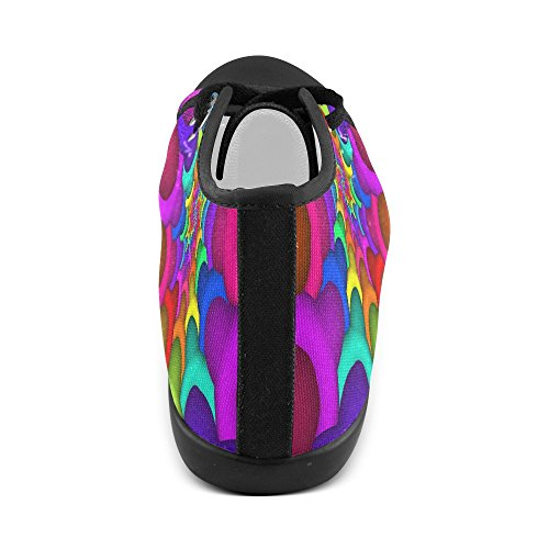 Artsadd Psichedelico Arcobaleno Spirale Alta Scarpe Di Tela Per Le Donne (model002) Multi Color2