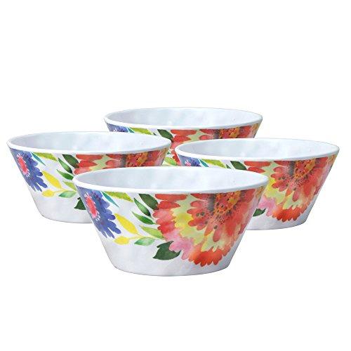 - Kim Parker Zinnia Garden Melamine Soup Cereal Bowl (23-Ounce, Set of 4)