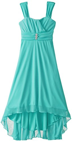 Ruby Rox Big Girls' Matte Jersey Dress with Rouched Bodice, Aqua, Small