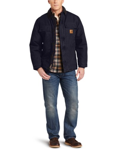 Carhartt Men's Arctic Quilt Lined Sandstone Traditional Coat (Midnight Blue Coat)