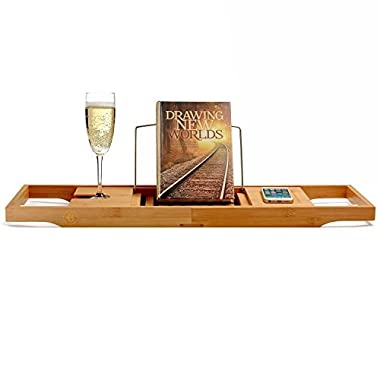 Bambüsi 100% Bamboo Bathtub Caddy with Extending Sides, Reading Rack, Cellphone Tray & Integrated Wine Glass Holder