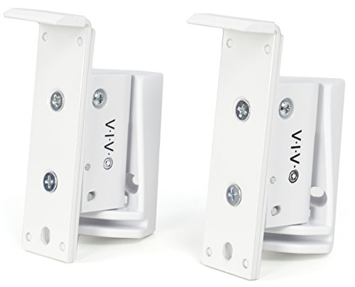 VIVO White Dual Wall Speaker Mount Designed for SONOS Play 1 Brackets | Adjustable Mounting for 2 Play:1 Audio Speakers (MOUNT-PLAY1W)