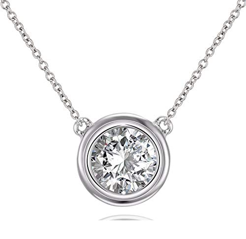 Solitaire Pendant Necklace .925 Sterling Silver Round 6mm, Silver, Size No Size (Sterling Silver Bezel Necklace)