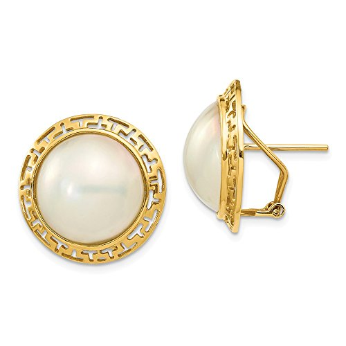 - 14K Yellow Gold 14-15mm White Freshwater Cultured Mabe Pearl Omega Back Earrings