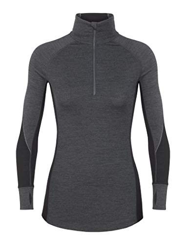 Icebreaker Merino Women's 260 Zone Long Sleeve Half Zip, Jet HTHR/Black/Snow, Small