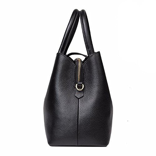 Bag Satchel Handbag Top Crossbody Leather Fashion Large Shoulder Black Tote Women's Genuine Bag Handle Lady xOnqwYZv1