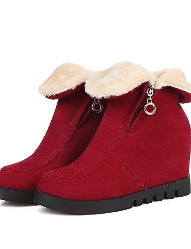 Red us6 Punta Eu39 Moda us8 Casual Vestido Mujer Uk6 Zapatos Redonda Cuña De Uk4 Cuñas Cn36 A Black Cn39 Negro Botas Xzz Vellón La Tacón Rojo Eu36 wTgYCPq