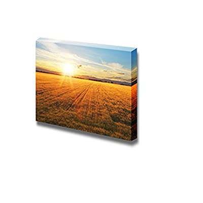 Canvas Prints Wall Art - Beautiful Scenery/Landscape Sunset Over Wheat Field | Modern Home Deoration/Wall Art Giclee Printing Wrapped Canvas Art Ready to Hang - 16