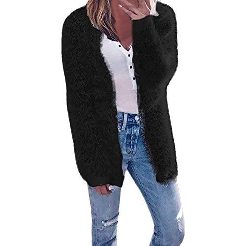 iDWZA Women's Fashion Autumn Winter Long Sleeve Cardigan Casual Coat(Black,S) (Bat Classic Baseball Bamboo)