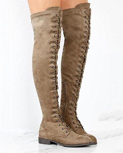 Plat Chaussures Genou Hautes Femme Chaud au Minetom Sexy Bottes wtO4q7x