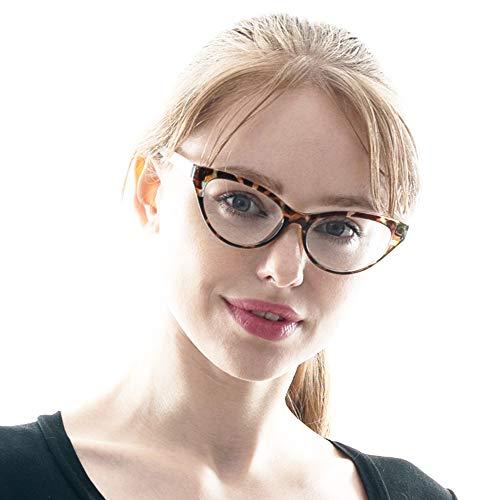 cb67db07b392 SOOLALA Modern Cat Eye Clear Lens Eye Glasses Frame Reading Glasses for  Ladies, BkLeo,