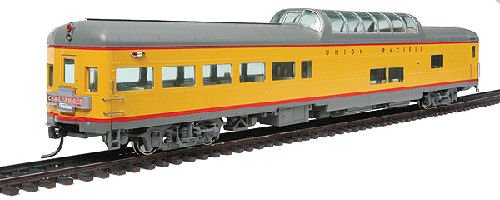 (85' ACF Observation Dome Lounge - Ready to Run - Standard -- Union Pacific(R) (Armour Yellow, gray, Challenger Tail Sign))