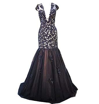 Women's Deep V Mermaid Black Lace Sheer Back Prom Evening Dress Royal Blue US14