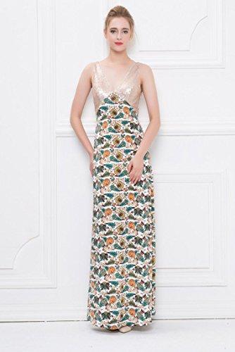 Linie Emily Ausschnitt Ohne Arm V Beauty A Rückenfrei Mehrfarbig Pailletten Abendkleider ZUwxEq