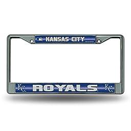 MLB Kansas City Royals Bling License Plate Frame, Chrome, 12 x 6-Inch