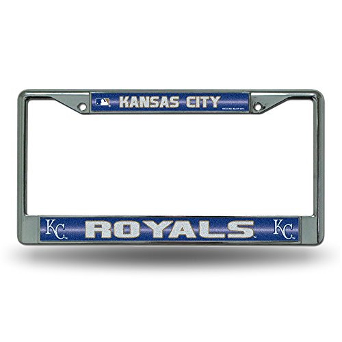 MLB Kansas City Royals Bling License Plate Frame, Chrome, 12 x 6-Inch