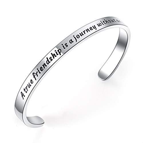 BESTTERN Inspirational Bracelet Cuff Bangle Best Friend Sister Gift Mantra Quote Stainless Steel Engraved Motivational Jewelry for Women Daily Reminder by SAM & Lori