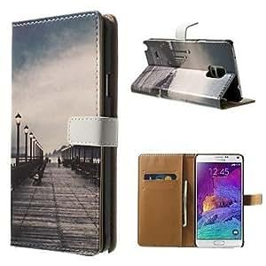 SHOUJIKE Bridge Pattern PU for Case with Stand Samsung Galaxy Note 4