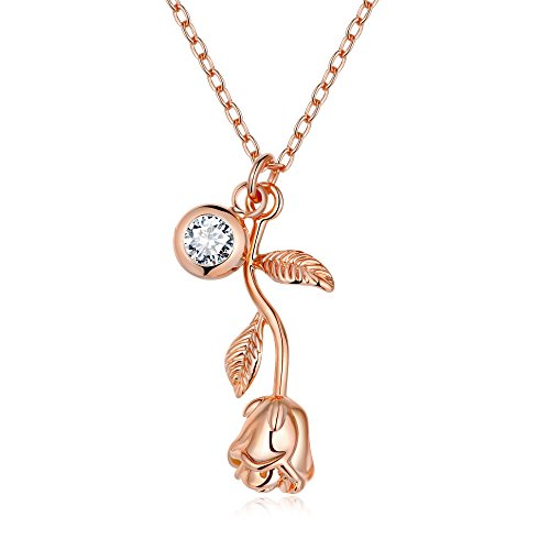Rose Gold Chain Necklace Jewelry   2018 Most Popular Electroplate Rose Gold  Austria Crystal Zircon For Swarovski Elements  Adjustable Necklace For Women  Girls  Christmas  Valentine S Day  Birthday