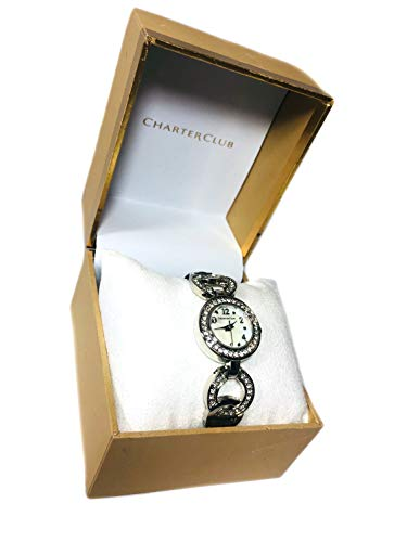 Charter Club Women's Crystal Accent Silver Stainless Steel Bracelet Watch