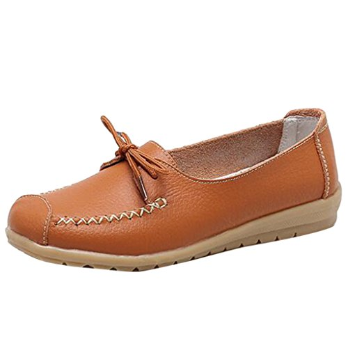 Binying Women's Casual Non-Slip Lace-Up Leather Loafer Lazy Shoes Orange 9Bpsn
