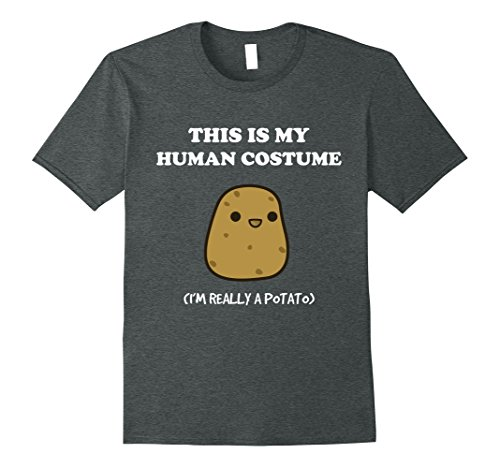 Mens Funny Potato T-Shirt Gift This Is My Human Costume Tee Large Dark (Is Halloween Costumes)