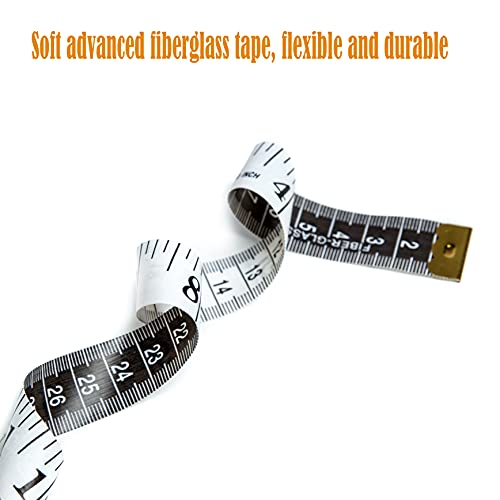 Harsgs 6 Pack Soft Tape Measure Set, Double Scale (60 Inch/150 cm) Sewing Measuring Tape, Flexible Ruler Measuring Tape for Body Fabric Sewing Tailor Cloth Knitting Home Craft Measurements,3 Colors