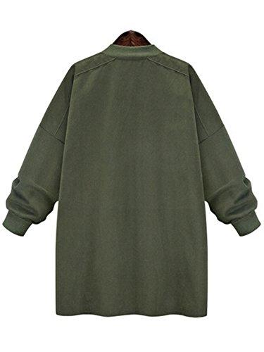 Blouson Ochenta Veste Vert Armé Femme Manches Longues Zip Casual 55xvwqR