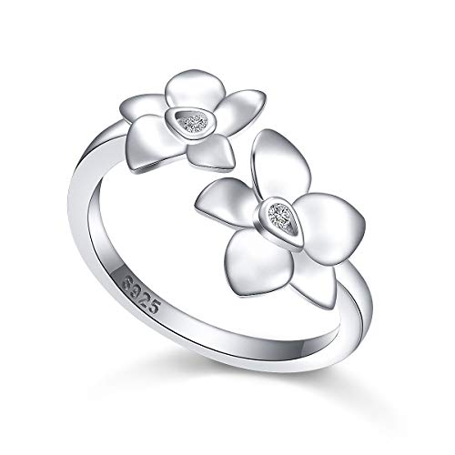 JZMSJF Ring for Women S925 Sterling Silver Orchid Flower Adjustable Wrap Open Ring