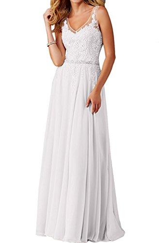 A Weiß Abschlussballkleider Abendkleider Partykleider Kleider Jugendweihe Linie Blau Chiffon Rock mia Spitze Festlichkleider La Langes Braut Z4ATq7g7