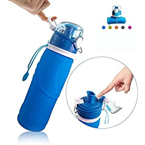 XHAIZ Collapsible Water Bottle with Airlock 750 Milliliter/ 26 Ounce and 1000 Milliliter/ 35 Ounce,LeakProof Reusable Foldable Sports Water Bottle (Blue)