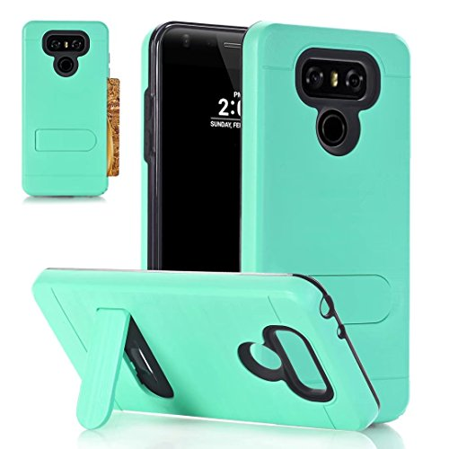TOPBIN LG G6 Case, [Card Slot Holder] Shockproof Ultra Slim Fit Dual Layer Hard PC+ Soft Silicone Protection Card Holder Hybrid Cover with Kickstand for LG G6 (Lg Ultra Slim)