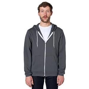 American Apparel Men Flex Fleece Color Block Zip Hoodie