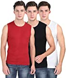 SOLO Men's Designer Round Neck Cotton Muscle Tee Vest Casual Sleeveless/Classic Soft Stretchable Short Crew Undershirt (Pack of 3)