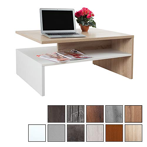 RICOO WM080 W-ES, Mesa Centro salon, 90x41,5x59,5cm, Mueble Auxiliar para Salon, Rectangular, Diseno Moderno, Decorativo, Madera de Color Roble marron