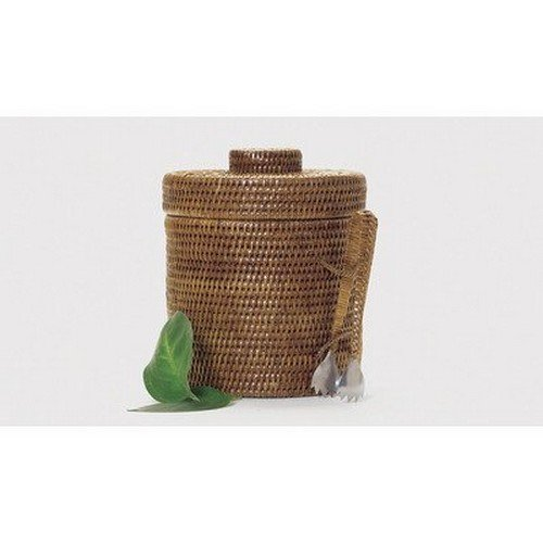 """UPC 787812000663, Artifacts Trading Company Rattan Small Ice Bucket with Tongs, 9"""" Diameter, 9"""" L x 9"""" W x 9"""" H"""